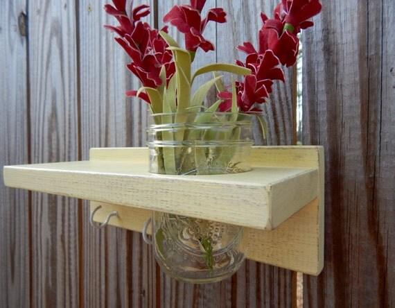 Distressed wood Keyholder / Shelf, home decor, shabby chic decor, yellow shelves