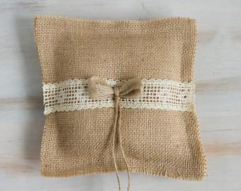 Burlap ring bearer pillow Rustic wedding pillow Wedding Ring Pillow Bridal Ring Pillow Wedding pillow Rustic Ring Bearer Pillow