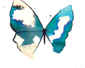 "turquoise  butterfly with white gold spots 8 X 10"" original watercolour painting"