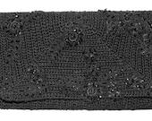 Crochet evening clutch,purse,hand bag,black