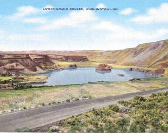 Lower Grand Coulee, Washington - Linen Postcard - Vintage Postcard - Unused (Q)
