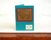 Buffalo Gift Tag Card Handmade Blank Southwestern Note Card Western Stationery