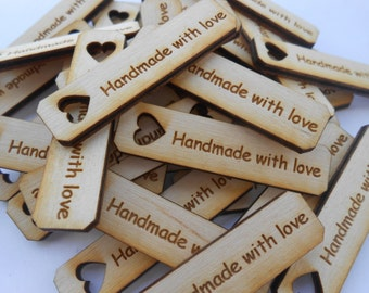 """50 """"handmade with love"""" Tags, Laser Cut Wood. 1.5 Inch. Custom Orders Welcome."""