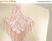 SALE 10% OFF Pink Beaded And Sequin Fringe Applique / Available in Black, White, Blue & Pink / Vintage Flapper Style / Bridal / Wedding Dres