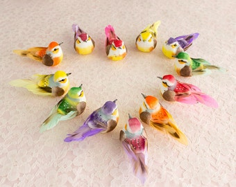 One Dozen Mushroom Birds 12 Assorted Colorful Artificial Birds With Real Feathers / Springtime Birds / Cheerful Colors / Wedding Bouquet