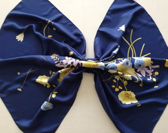 Vintage Salvatore Ferragamo Royal Blue Floral Silk Extra Large Scarf Wrap Made in Italy