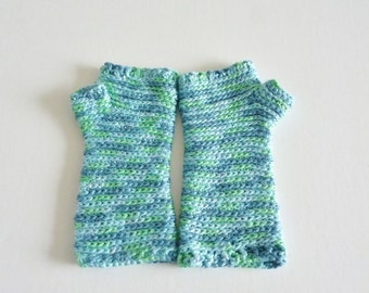 Gauntlet style fingerless gloves - soft and warm - hand made with silk - aqua - blues and greens - mermaid - teen to adult
