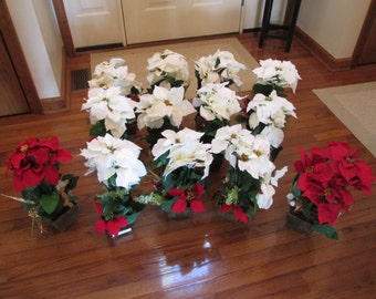 13 Poinsettia flower arrangements Christmas wedding poinsettias Christmas white flowers white wedding flowers rustic wedding