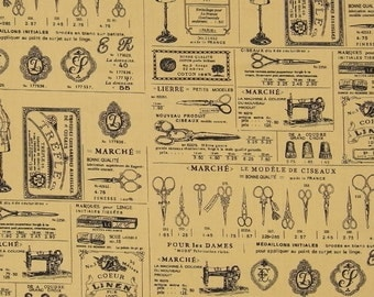 ANTIQUE SCISSORS printed cotton poplin