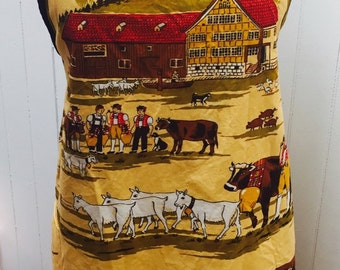 Vintage 1970s Fisba-Stoffels Swiss Farmer Agriculture Apron