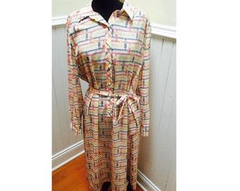 Vintage 1970s Lanvin Mod Shirtdress- L/XL