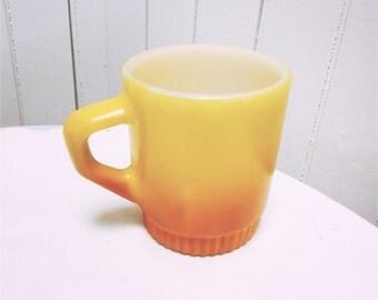 Vintage 1970s Orange Flame Milk Glass Mug