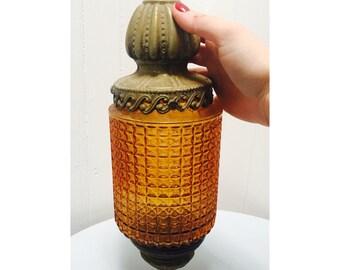Vintage Amber Glass Outdoor Lantern/Light