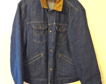 Rugged Vintage Men's Wrangler Denim Jean Jacket Size 44
