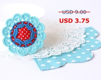SALE Red blue flower crochet brooch Polka dot Fiber art Fabric jewelry Vintage inspired Summer fashion Boho chic accessory Unique gift