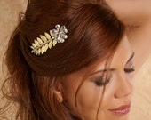 Bridal comb, Bridal Headpiece, Wedding Hair accessory, gold adornment, Beaded Wedding Hair Jewelry, gold leaves comb. Style AMORE 03