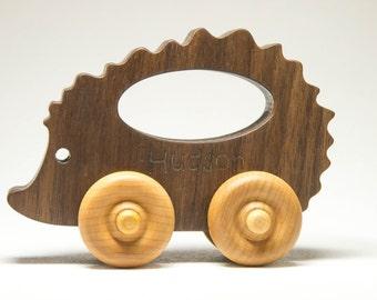 Wooden Toy Car Hedgehog Personalized Name Custom toy - Baby Shower, Nursery Decor, Birthday Gift