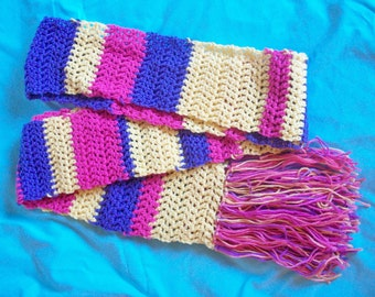 Yellow Pink Purple Striped Scarf Crochet with Tassels