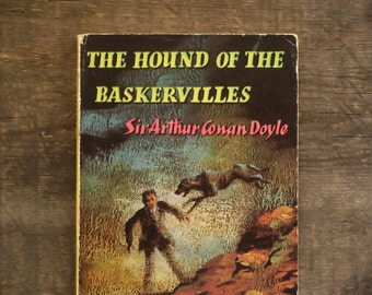 Sherlock Holmes book, The Hound of the Baskervilles by Sir Arthur Conan Doyle vintage book, 1950s paperback.