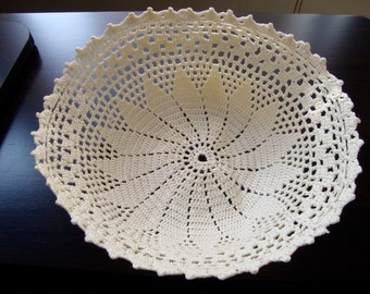 Crochet Bowl Liner Antique Hand Crocheted Basket Doily