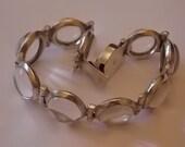 Vintage Silver Pools Of Light Glass Crystals Bracelet GORGEOUS