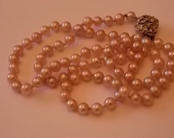 Vintage Pink Real Pearls Necklace Beautiful