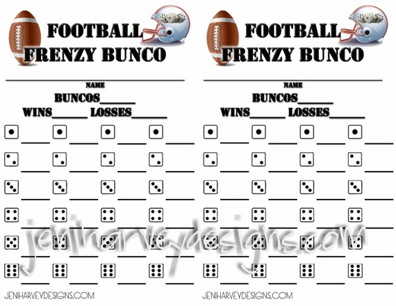 Football Frenzy Bunco Score Cards