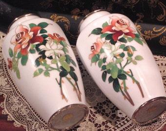 Vintage Japanese Cloisonne Enamel Ginbari White Vase Pair