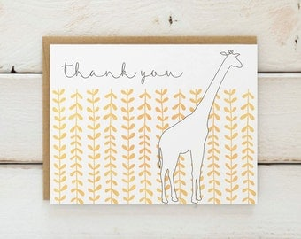 Giraffe Thank You Cards, Animal Thank You Notes, Thank You Cards, Giraffe Cards, Giraffe Stationery, Thank You Stationery Set of 10