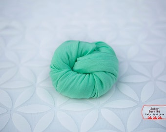 Mint Green Stretch Knit Wrap, Weave Knit Wrap, Newborn Photo Prop, Knit Baby Wrap, Mini Blanket, Photography Props, Cocoon