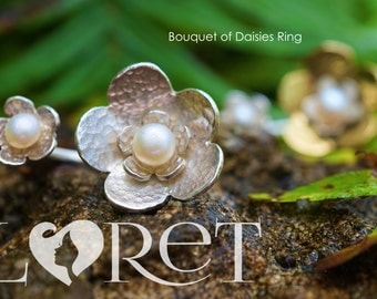 Sterling Silver Bouquet of Daisy Flowers with Freshwater Pearls Ring