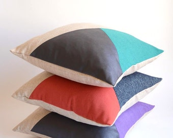 Modern Pillow/Natural/Teal/Navy Blue Leather/Triangle/Custom Pillow/Handmade/Eclectic/ZigZag Studio Design