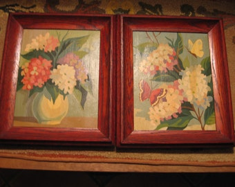 Paint By Number Framed Floral Still Life Pair