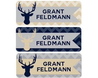 Name Labels, Boy, Waterproof, School Name Labels, Daycare Name Labels, Baby Bottle Labels, Deer, Woodland, Navy, Blue, Tan, Gray, Grey