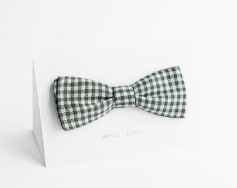 Olive green bow tie, checkered - double sided