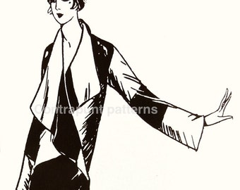 Big collar and oriental cut in this 1920 stylish vintage sewing pattern coat.