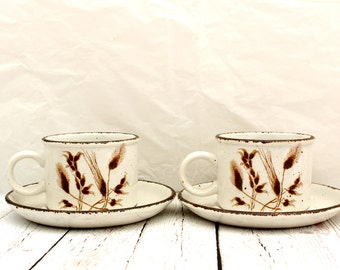 Stonehenge Midwinter Teacups and Saucers, Stonehenge Wild Oats Cups and Saucers, Vintage English Stoneware, Vintage Stonehenge Wild Oats