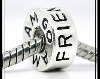 FRIEND - AMiGO - Silver-tone Silver plated Charm Bead - fits European Bracelets - MS-1169-A