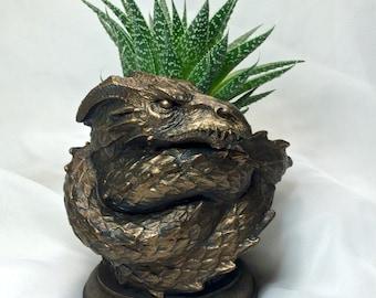 Coiled Dragon Planter, Bronze Finish