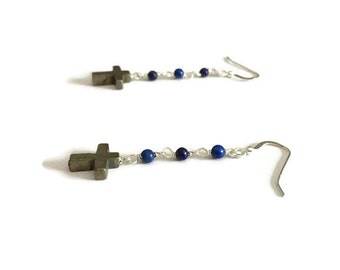 Lapis Earrings - Navy Blue Jewelry - Pyrite Cross Jewellery - Sterling Silver - Beaded - Gemstone - Mixed Metal