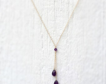 Amethyst Necklace - February Birthstone Jewelry - Purple Gemstone Jewellery - Gold Chain - Lariat