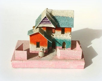 Vintage Putz village house, retro Christmas, little house, 1950's Christmas