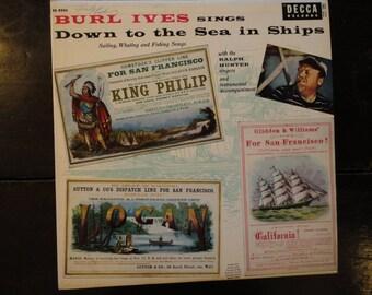 Vintage Record Album Burl Ives Sings Down to the Sea in Ships-1956-Decca-Sea Shanties-Folk Songs