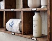 Bathroom Shelf With Metal Labels - Bath Towel Organizer - Modern Rustic - Wall Hanging - Cottage - Bathroom Decor - Industrial - Reclaimed