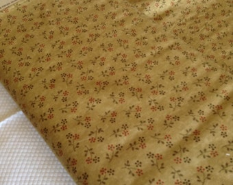 Sale Everlastings by Sandy Gervais 1 Yard of tan with brown and red flowers