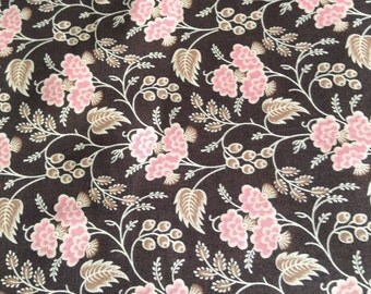 Dark brown with pink flowers and gold leaves strawberry and chocolate by Judie Rothermel for Marcus Brothers