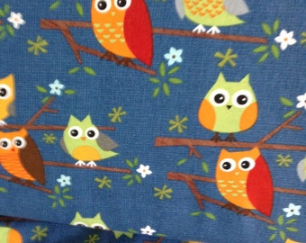 sale Ten Little Things By Moda  multi colored owls on branches on dark blue back ground goes with Cars, Trucks 1 yards cotton quilt fabric