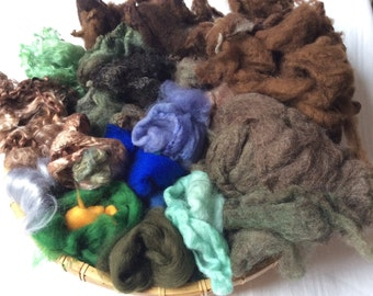 Dyed British Rare Breed Mixed Wools for Blending. 180gms. Spinning & Felting supply. Merino, Shetland, Teeswater, silk. 'Woodland'