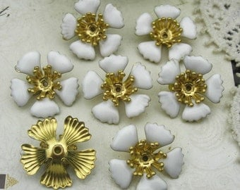 10 pcs(19mm) Raw Brass Finding Resin Glossy, Flower  (F1510)