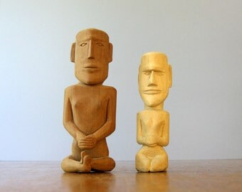 Vintage Folk Art / Tiki Style Carved Wood Figurines